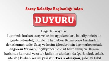 Saray Belediye Başkanlığı'ndan Kurban duyurusu